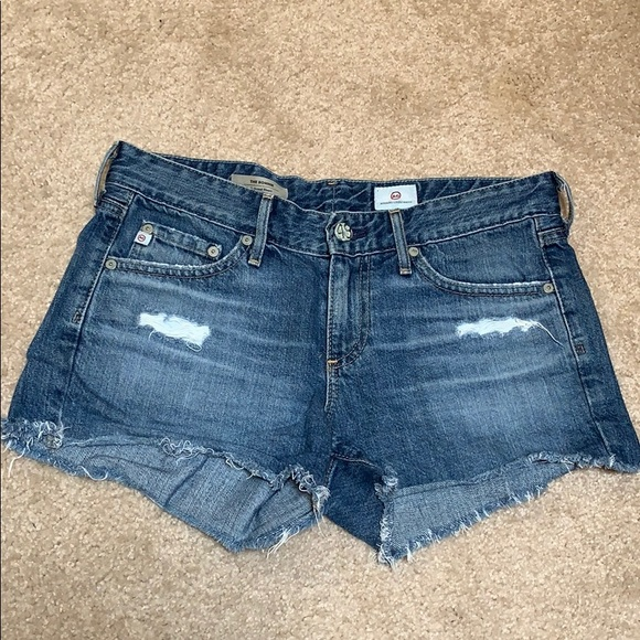 Ag Adriano Goldschmied Pants - AG The Bonnie Relaxed Denim Distressed Shorts